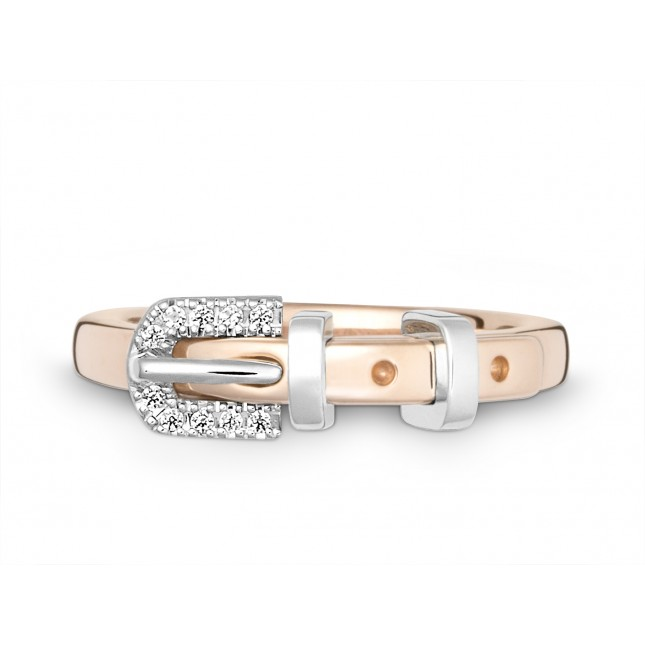 Ring 750Rg&Wg Bril. 0,05ct TW/SI