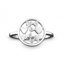 Ring Herz 925Ag Bril. 0,03ct W/P