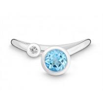 Ring 925Ag Bril. 0,03ct W/P Blautop. b.