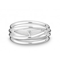 Ring 925Ag Bril. 0,02ct W/P