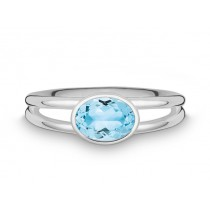 Ring oval 925Ag Blautop. b.