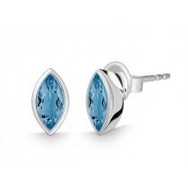 Pr. Ohrst. Navette 925Ag Blautop. b. London blue