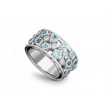 Ring 585Wg Bril. 0,15ct TW/SI Blautop. b.
