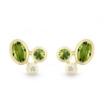 Pr. Ohrst. 585Gg Bril. 0,06ct TW/SI Peridot